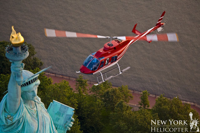 New York Helicopter at Statue Of Liberty