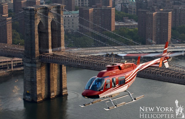 New York Helicopter by Brooklyn Bridge